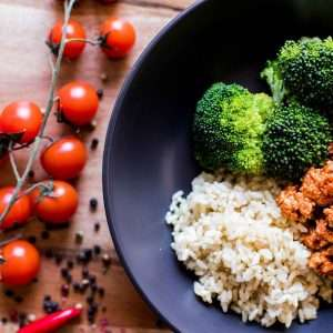 Italian Chicken Mince with Brown Rice and Seasonal Veg