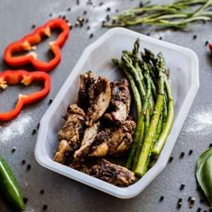 Grilled Marinated Chicken Thigh with Asparagus