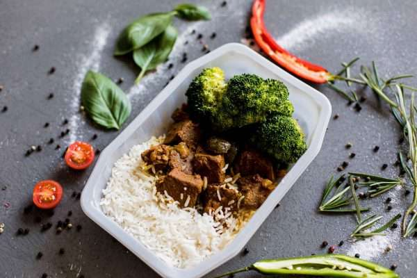 Slow Cooked Beef Curry with Basmati Rice and Grilled Broccolini