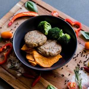 Turkey Patties with Sweet Potato Wedges and Broccolini