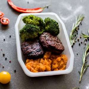 Kangaroo Burger Patties with Sweet Potato Mash and Seasonal Veg
