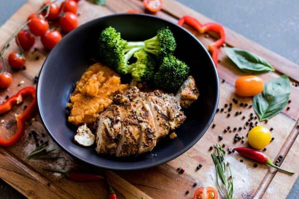 Chicken Breast with Sweet Potato Mash and Seasonal Veg