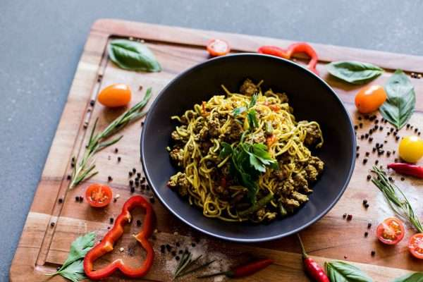 Curried beef egg noodles