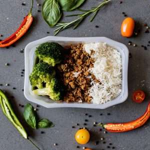 Lean Beef Mince with Basmati Rice and Seasonal Veg