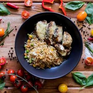 Lemon Chicken with Stir Fried Rice