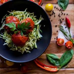 Beef meatballs with zucchini noodles